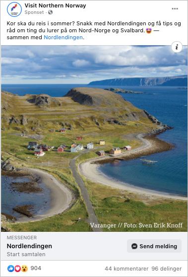 Skjermdump av annonse fra NordNorsk Reiseliv